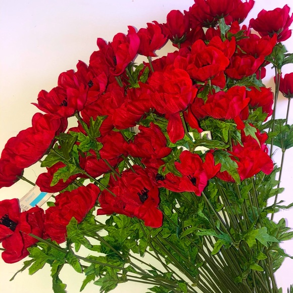 NEW RED SILK POPPY FLOWERS SET OF 4 Bushes